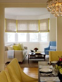 Gray and Yellow Roman Shades - Contemporary - living room ...