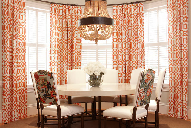 Burnt Orange Curtains French Dining Room