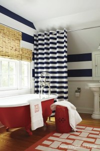 Navy Blue and White Horizontal Striped Curtains ...