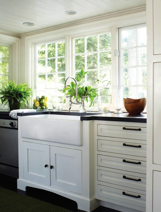 black kitchen cabinet pulls white towels with no upper cabinets cottage new england home