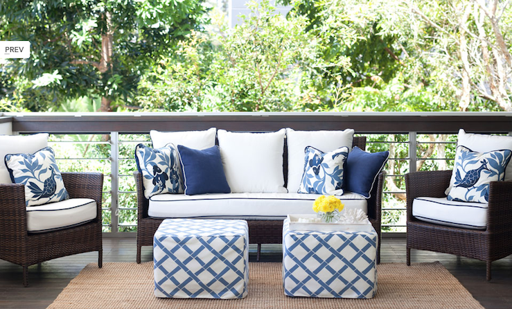 White Cushions With Navy Piping