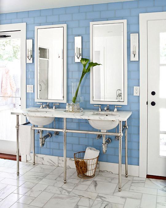 Blue Subway Tiles  Contemporary  bathroom  Traditional Home