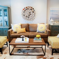 Yellow Chairs For Living Room Decorating Ideas Small With Corner Fireplace And Brown Transitional Para