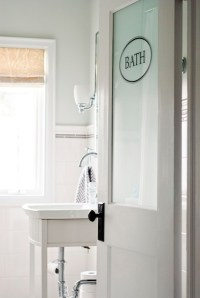 Frosted Glass Door - Transitional - bathroom - Restoration ...