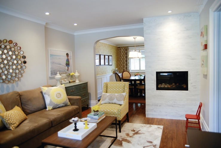 Oriental White Marble  Transitional  living room  Para