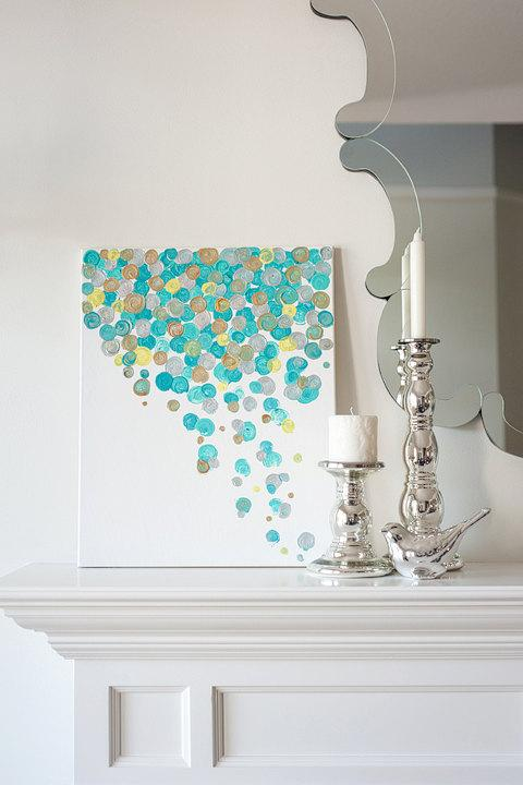 16x20 Canvas Painting Confetti Turquoise by luluanddrew on