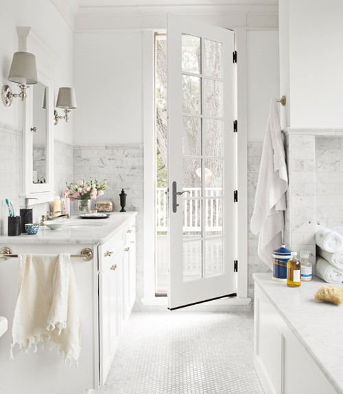 White and Gray Bathroom  Transitional  bathroom  Country Living