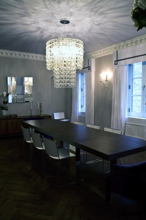 gray upholstered dining chairs metal chair glides greek key valance - contemporary room modern declaration
