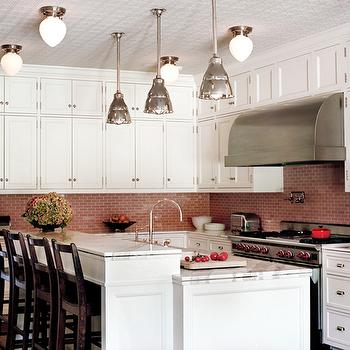island kitchen hood and bathroom remodel pink linear glass tiles backsplash design ideas