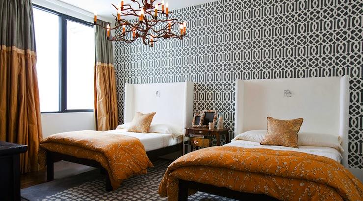 Orange Curtains Contemporary Living Room Elle Decor