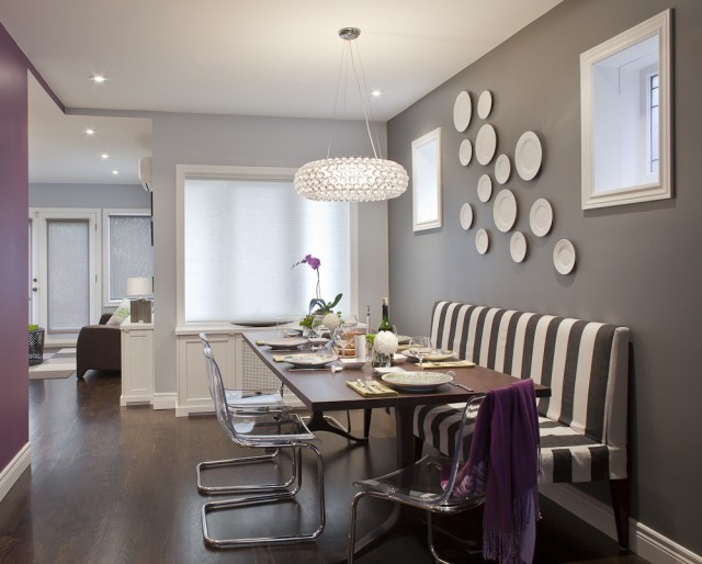 gray chair slipcover cowhide accent ikea ghost chairs - contemporary dining room leslie goodwin photography