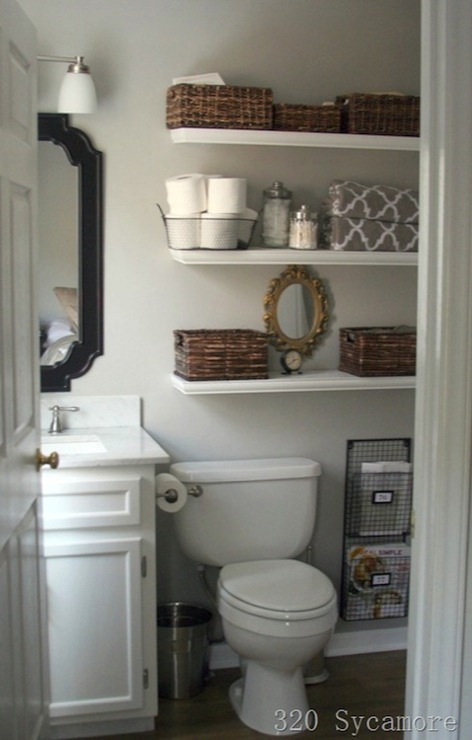 Shelves over Toilet  Cottage  bathroom  Glidden Fossil Grey  320 Sycamore