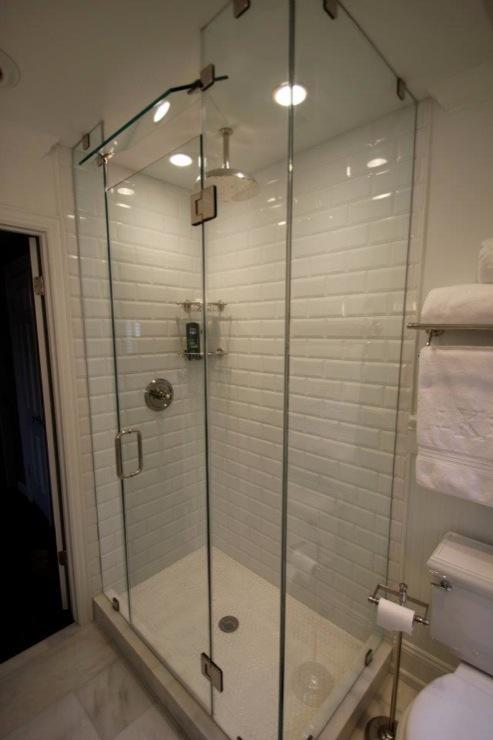 Beveled Subway Tile Contemporary Bathroom Sherwin