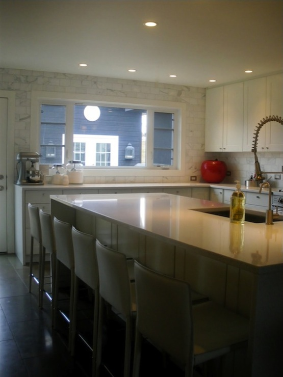White Quartz Countertops  Contemporary  kitchen  Moth