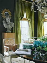 Green Curtains - Eclectic - dining room - R Higgins Interiors
