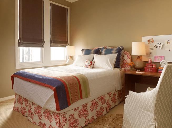 Teen Girl Bedroom One Wall Wallpaper Brown Roman Shades Eclectic Girl S Room Redmond