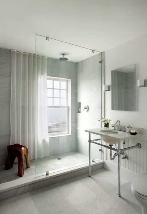 Shower Chair Rail Tiles Design Ideas