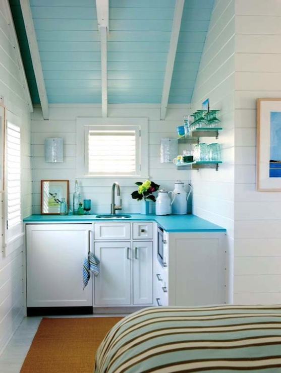 Turquoise Countertops  Cottage  kitchen  Kathleen Hay Design