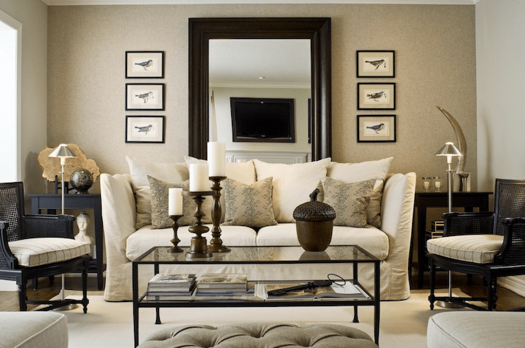 linen slipcover sofas mario bellini duc sofa mirror behind - traditional living room toronto ...