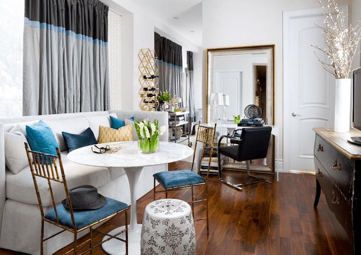 black chesterfield sofa velvet light gray fabric sectional beveled floor mirror - contemporary living room ...
