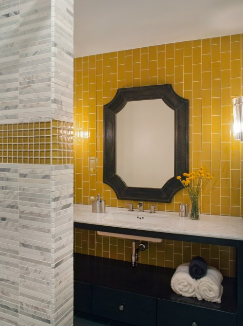 yellow subway tile contemporary