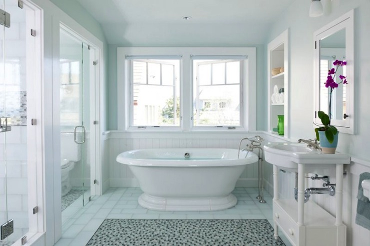 Oval Marble Freestanding Tub  Transitional  Bathroom