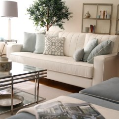 Blue Sofa White Piping Star Furniture Table Glass Coffee - Transitional Living Room Ana Antunes