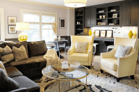 Yellow and Brown Living Room - Contemporary - living room ...