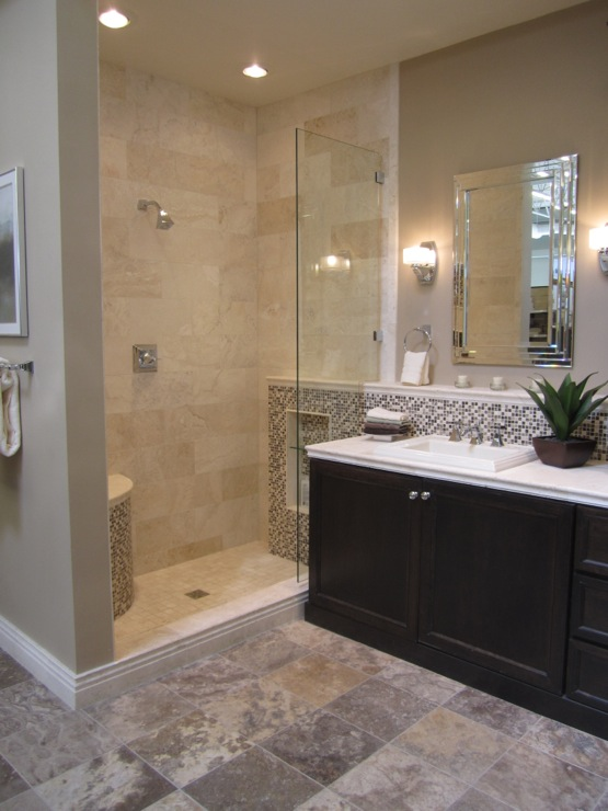 Travertine Tile Shower  Transitional  bathroom