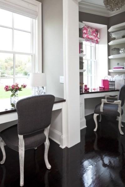 dark grey home office Gray Rooms - Contemporary - den/library/office - Benjamin Moore River Reflections - Martha O