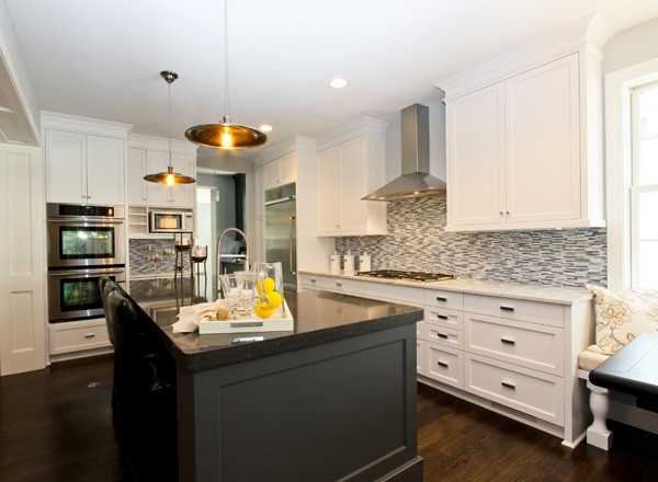 two tone kitchen island cabinet organizing ideas black contemporary refined llc