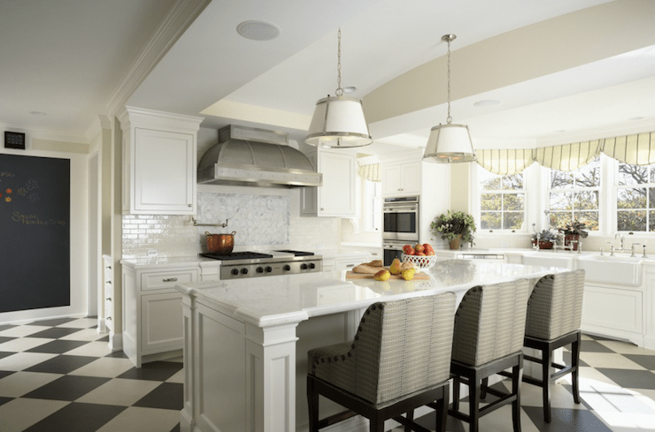 Mystery White Marble Countertops Transitional Kitchen