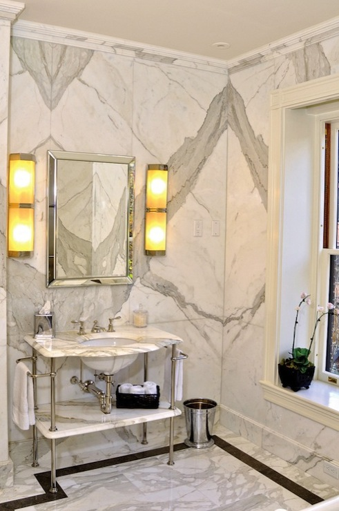 Calcutta Marble  Contemporary  bathroom