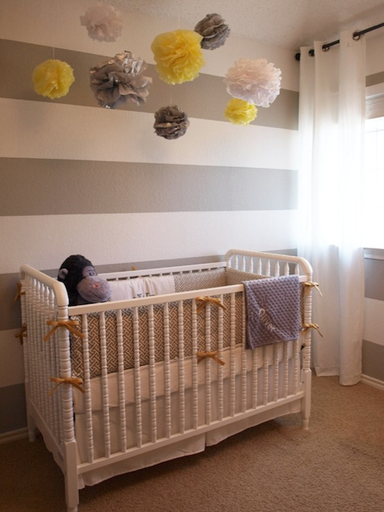 Gray White Striped Nursery Walls  Transitional  nursery
