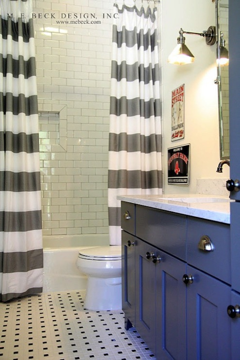 White And Gray Striped Shower Curtain Contemporary Bathroom