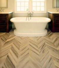 Marble Herringbone Floor - Transitional - bathroom ...