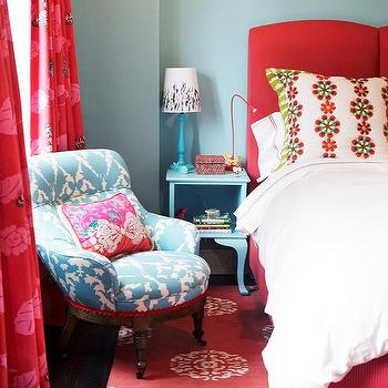 red leather wingback chair barrel turquoise headboard - eclectic bedroom rachel reider interiors
