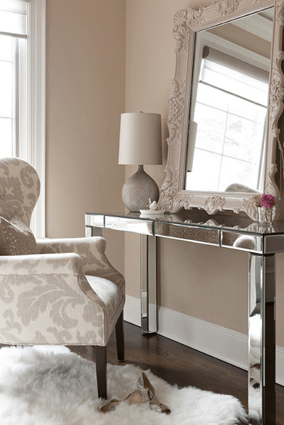 Mirrored Vanity  Transitional  bedroom  The Elegant Abode