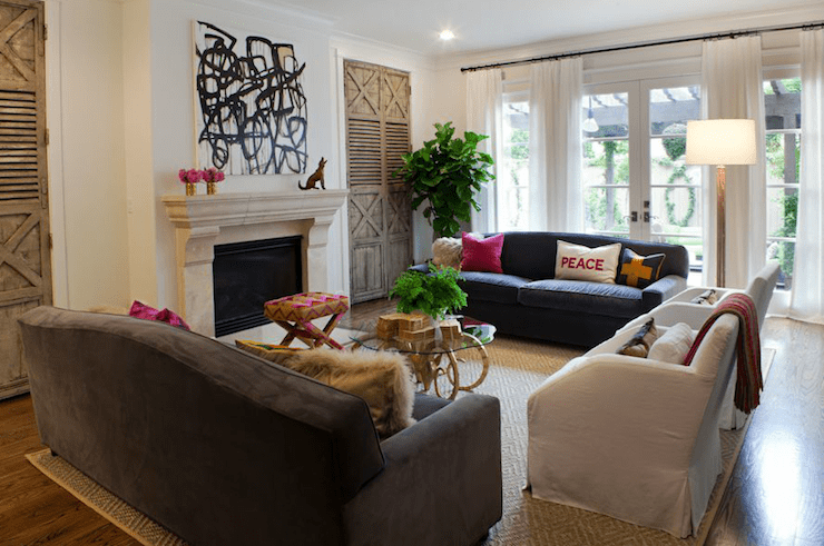 Art over Fireplace  Transitional  living room  Sally