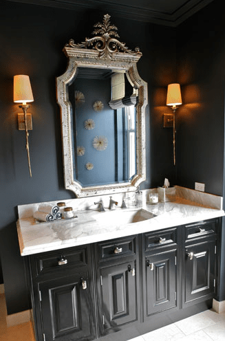 Black Bathroom  Eclectic  bathroom  Summer Thornton Design