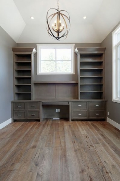 painted home office built ins Built In Office Desk - Transitional - den/library/office - Pratt and Lambert Rubidoux - Veranda