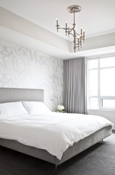 grey and white contemporary bedroom Gray Velvet Curtains - Contemporary - bedroom - Palmerston Design