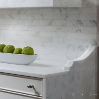 Marble Subway Tiled backsplash - Transitional - kitchen ...