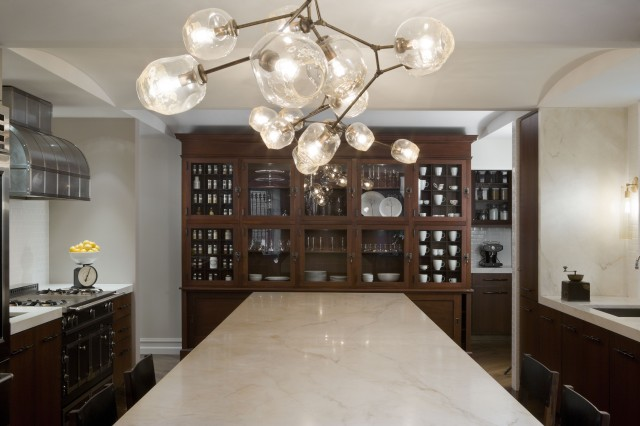 Gorgeous Kitchen With Lindsey Adelman Pendant Chandelier Coffee Stained Glass Front Cabinet Cabinets Island And Marble Countertops