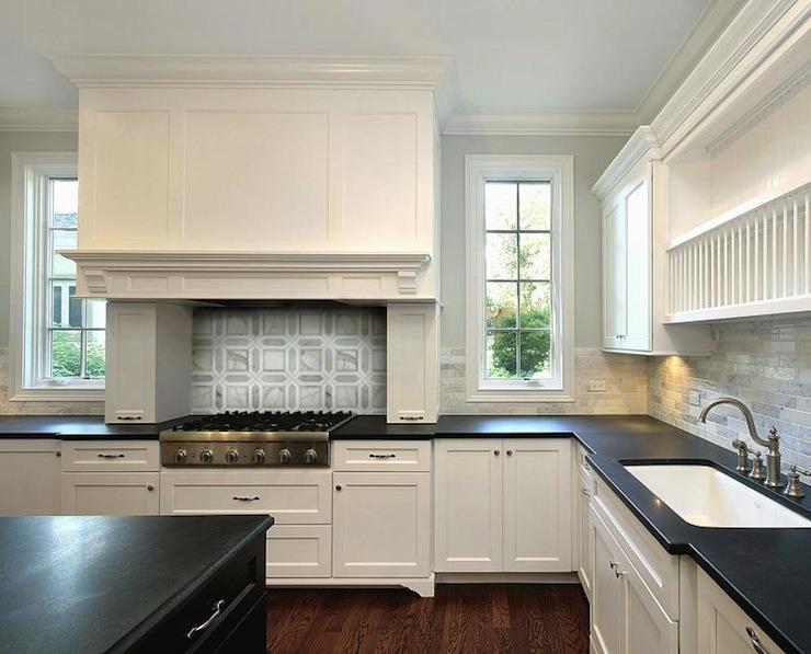 Black Kitchen Island White Marble Countertops Design Ideas