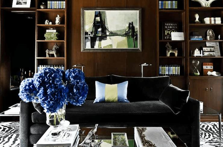 Black Velvet Sofa  Transitional  denlibraryoffice