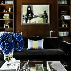 Small Living Room Ideas Blue Chair Set Of 2 Black Velvet Sofa - Transitional Den/library/office ...