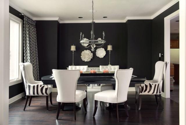 Black Walls Contemporary Dining Room Benjamin Moore