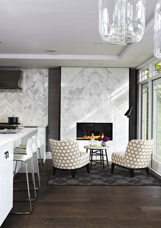 Modern Marble Fireplace  Contemporary  kitchen  Croma Design