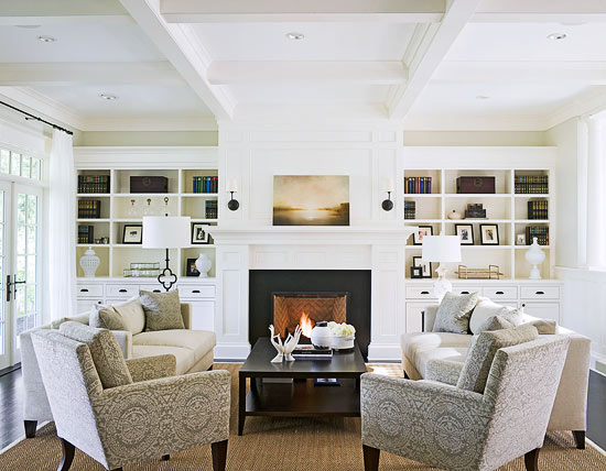 cream leather accent chairs tufted rocking chair fireplace built ins design ideas